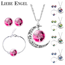 LIEBE ENGEL Silver Color Jewelry Sets Moon Pendant Necklace Earrings Bracelet Tree Of Life Picture Glass Cabochon Women Gift(China (Mainland))