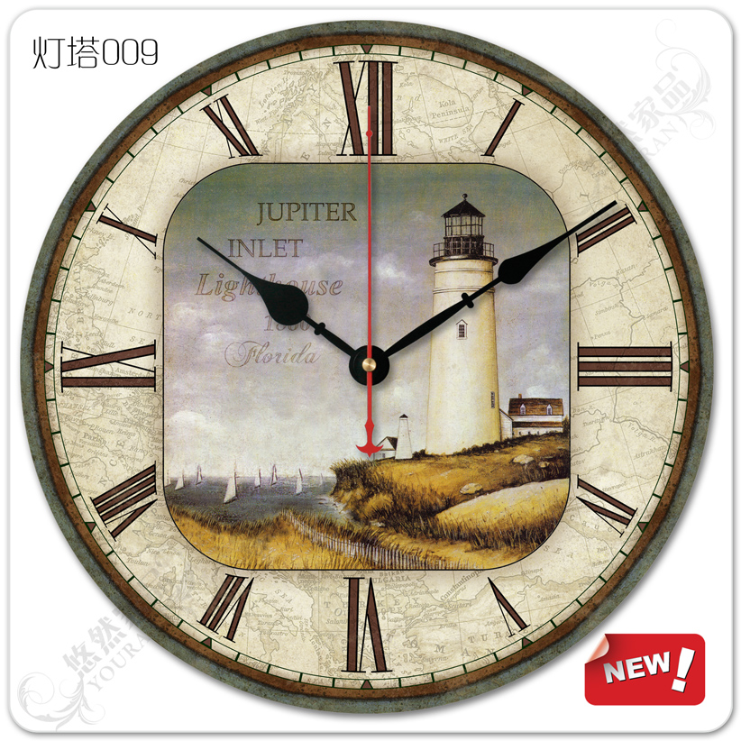 terranean European pastoral village retro living room wall clock simple decoration hanging clocks mute wooden Lighthouse(China (Mainland))