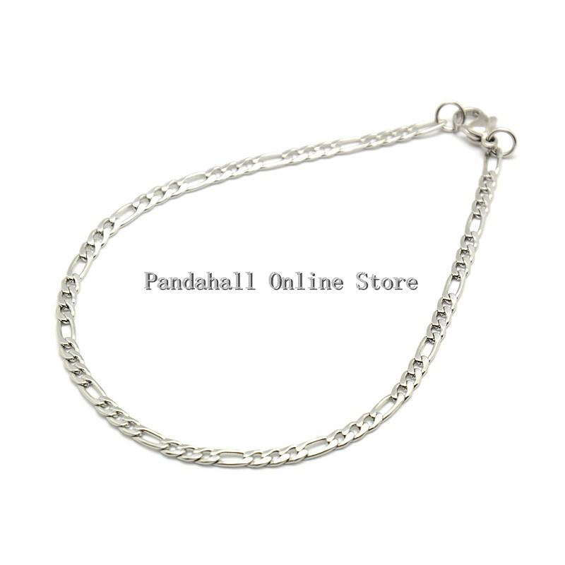 Trendy Women's 304 Stainless Steel Figaro Chain Bracelet Makings Lobster Claw Clasps Color 210mm long - Pandahall Online Store store