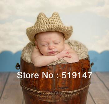 Free shipping cowboy baby hat handmade crochet photography props newborn baby cap