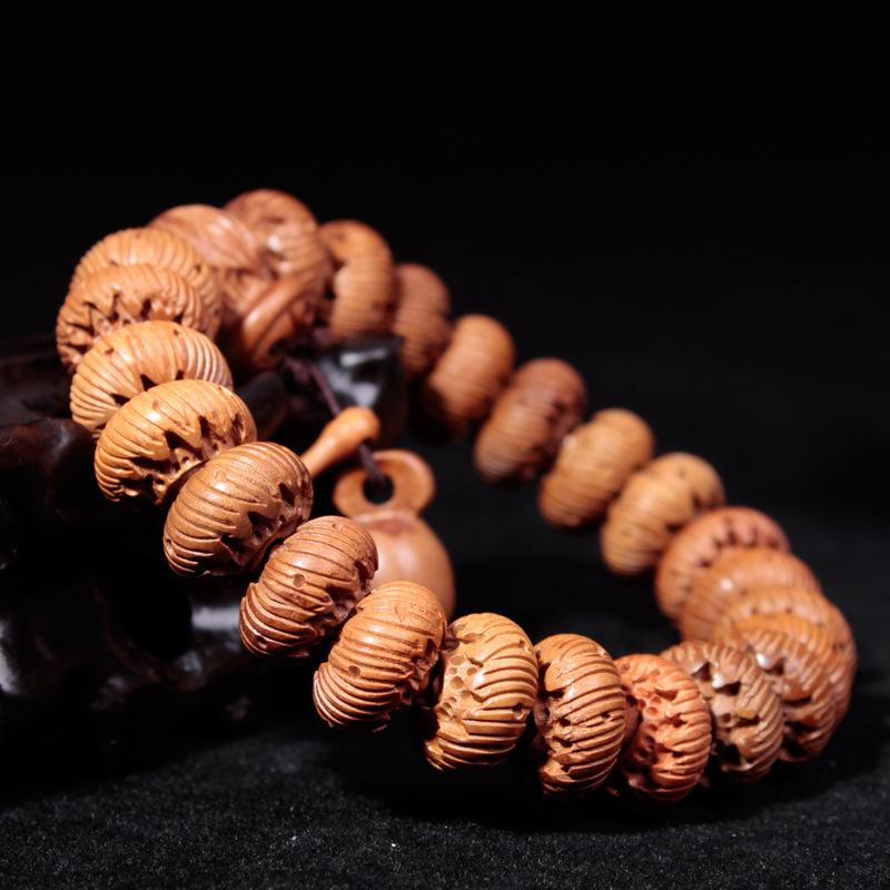 Poly full carved Bodhi lotus natural lightning emerald bracelet evil amulet transport wood Bracelets(China (Mainland))