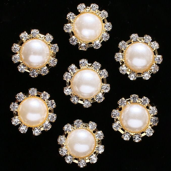 Wholesale Bridal Pearl,Rhinestone Trimmings Crystal Metal Wedding Sewing Buttons,can applied to clothing,wedding,evening dresses(China (Mainland))