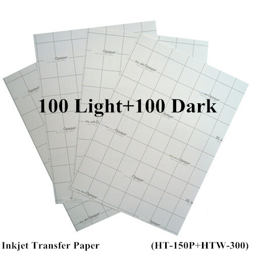 (200pcs=100pcs Light +100pcs Dark) A4 Paper Inkjet Heat Transfer Paper Thermal Papel Fabric Transfer Paper For T shirt Freeship(China (Mainland))