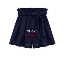 hot!2016 High Waist Shorts summer chiffon wide leg women Black shorts skirts bow elastic waist female White Belt plus size 5XL