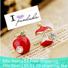Free shipping Fashion lovely red drops of glaze asymmetric apple crystal stud earrings for women hot sale(China (Mainland))