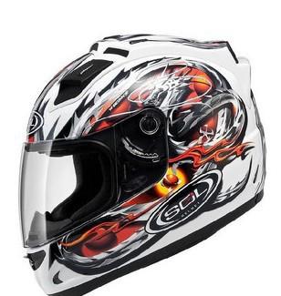 Free shipping genuine Taiwan SOL racing motorcycle helmet full helmet motorcycle helmet 68S with LED light / White Dragon(China (Mainland))