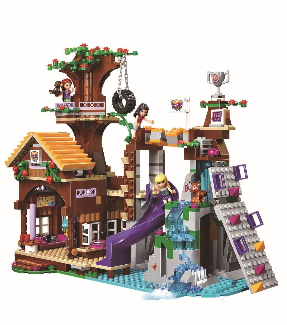 BELA 10497 739Pcs Pals Journey Camp Tree Home tire swing Mannequin Constructing Minifigures Blocks Woman Toys With Legoe 41122