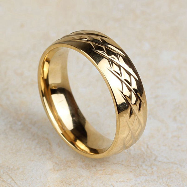 Classic Titanium Steel 18K Gold Plated Filled Fashion Wedding Engagement Bands Finger Ring For Women And Men Size 8 9 10 (A976)(China (Mainland))