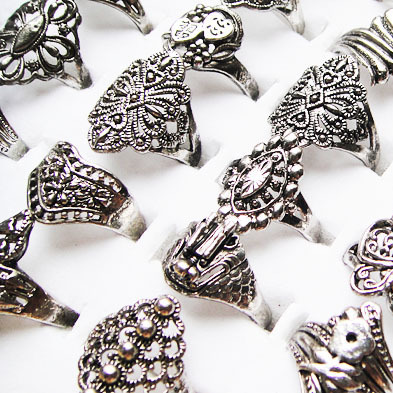 Big Pormotions 50pcs Antique Tibet Silver Plated Women Vintage Rings Mix Style Wholesale Jewelry Lots A-099(China (Mainland))