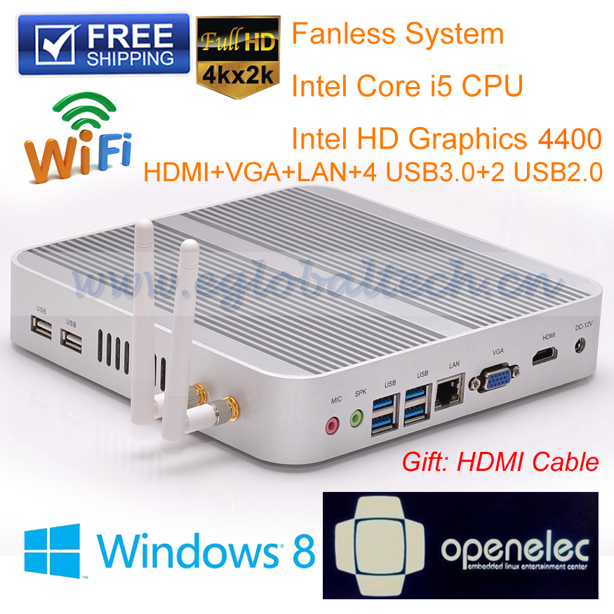 Small PC Desktop Core i5 4GB RAM 160GB HDD WIFI HDMI VGA USB Fanless Car PC Haswell 4K HTPC Network Computer 3years Warranty(China (Mainland))