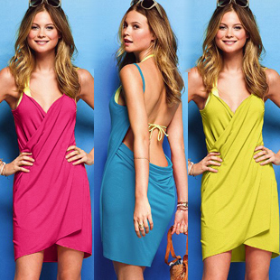 2013 fashion sexy female spaghetti strap racerback beach dress skirt bikini sun dress sun protection clothing