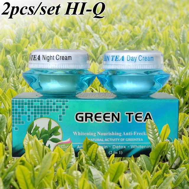 Wholesale whitening Nourishing anti-freckle set natural activity greentea day cream+night cream green tea