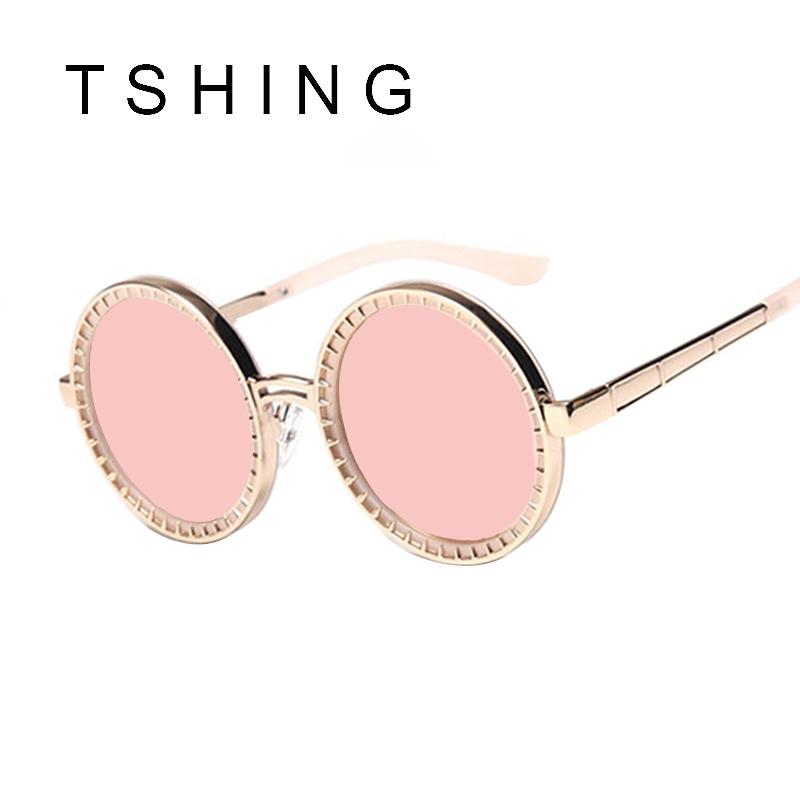 TSHING 2016 New Round Steampunk Sunglasses Women Unique Rivet Steam Punk Sunglasses For Men Vogue Rose Gold Sun Glasses UV400(China (Mainland))