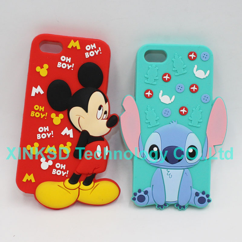 For Apple iphone 5 5S Stitch Case 3D Cute Cartoon Soft Silicone Back Cover Cases For iphone 5 5S Minnie Mickey Mouse Phone Case(China (Mainland))