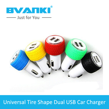 [Bvanki Car Charger]50Pcs/Lot 2016 China Discount Factory Seller 2 usb tire Shape 5V 2.1A car Cigarette lighter usb charger(China (Mainland))