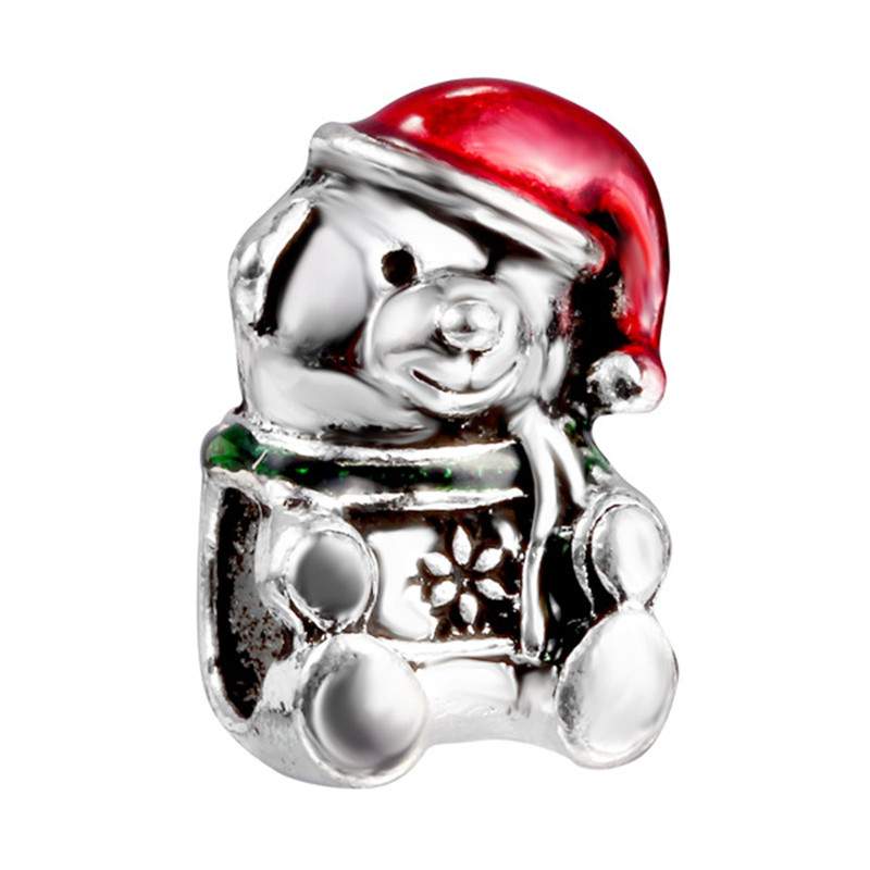 Loose Beads Jewelry Accessories Christmas Teddy Bear Scattered Beads Shapes Lovely Style Drip Beads Decoration JPP131(China (Mainland))