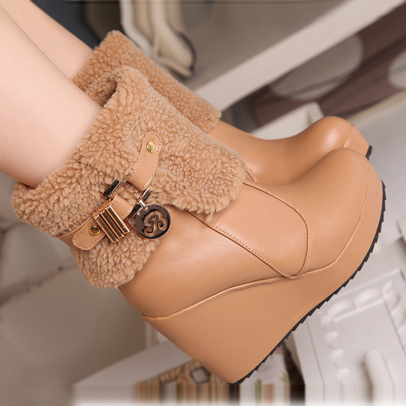 Waterproof Womens Boots Cold Winter Snow Boots Warm Plush Plus size 43  Metal Platform Wedged Boots<br><br>Aliexpress