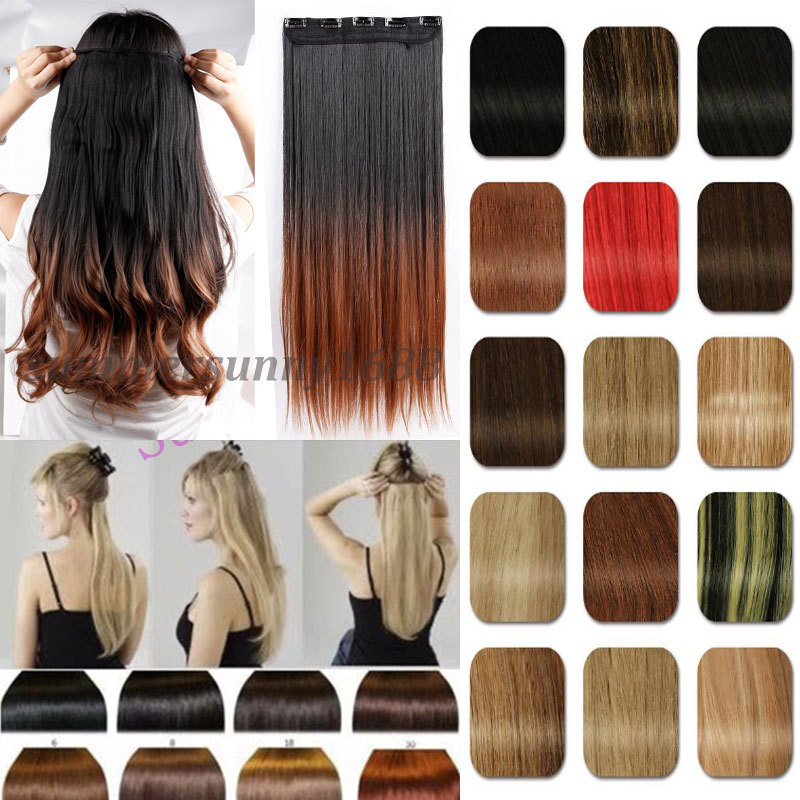 "Long Ombre hair Extensions Clip in ins Hair Extentions 3/4 Full Head 26"" Straight NEW Fashion Dip Dye Style Black Brown Blonde(China (Mainland))"