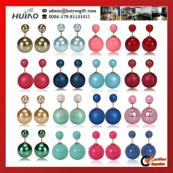 2015 New Arrival New Trendy Women Round 16color In Stock Two Double Pearl Beads,1.5cm Diameter,0.8cm Diameter Fashion Earrings(China (Mainland))