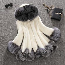 high imitation fur coat women silver fox fur collar hooded rabbit fur coat medium-long overcoat plus size S-4XL winter coat(China (Mainland))