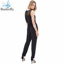 New Brand Summer Casual Rompers Womens 2015 Jumpsuit And Playsuit Sexy Macacao Feminino Lace Stitching Black Full Length BG-2718(China (Mainland))