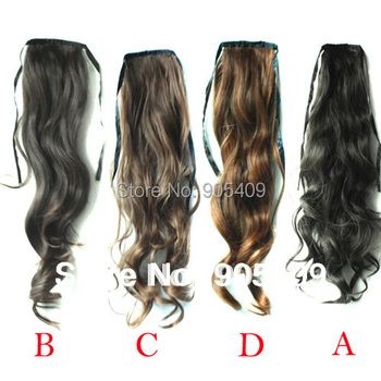 Womens Lace up Ponytail Horsetail Long Hair Piece Wavy Pony Hair Extension