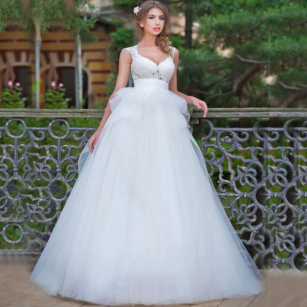 2016 vestidos de casamento white country style wedding for Country style lace wedding dress