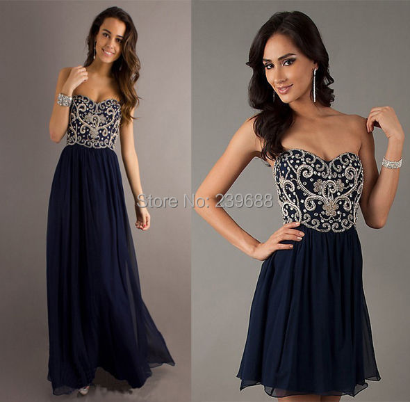 Line Beading Strapless Sweetheart Navy Blue Yellow Chiffon Long Prom Dresses Formal Evening Gown 2014 - wedding dress 789 store