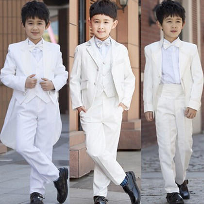 Fashion baby blazers formal white black boys tuxedo suits for weddings prom party costume child kids wedding suit clothing(China (Mainland))