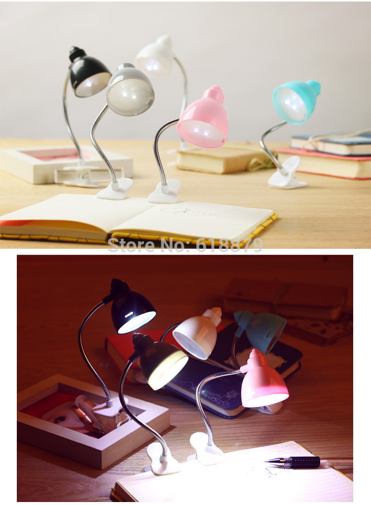 Mini LED Clip on Adjustable Book Reading Light Bright Desk Lamp(China (Mainland))