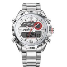 Weide WH-3403 Men ' s Casual reloj del deporte del acero inoxidable analógico Digital de pulsera resistente al agua 2015 nueva moda Color plata