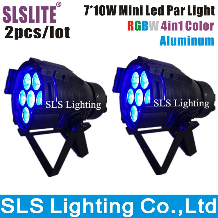 2pcs/lot 7*10 W Led Par Licht DMX512 RGBW or RGBA Led Par licht Mini Led Par 4in1 Goedkope Prijs aluminium Led Par Licht(China (Mainland))