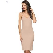 Sexy Slips Dress Sexy Lingerie Summer Spaghetti Strap Sleeveless Knee Length Ladies Underwear Slips Long Underskirts 10AM