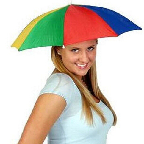 Wholesale 100pcs Portable Fishing Camping beach Umbrella Hat Multicolor Cap Sun Rain Umbrella(China (Mainland))