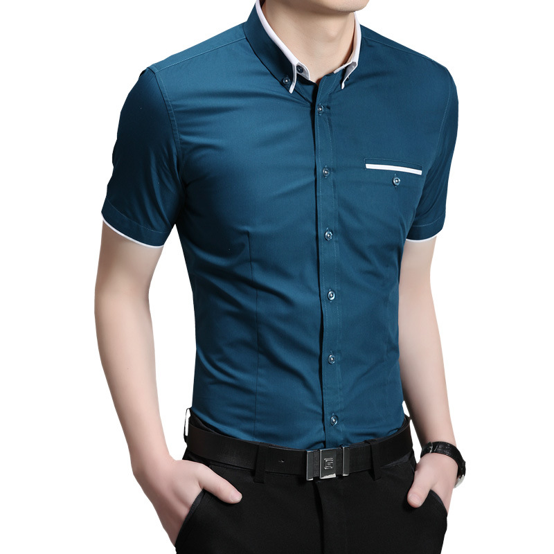 Short sleeve lapel half sleeve shirt in the summer of 2016 male style leisure men 's clothing of pure color(China (Mainland))