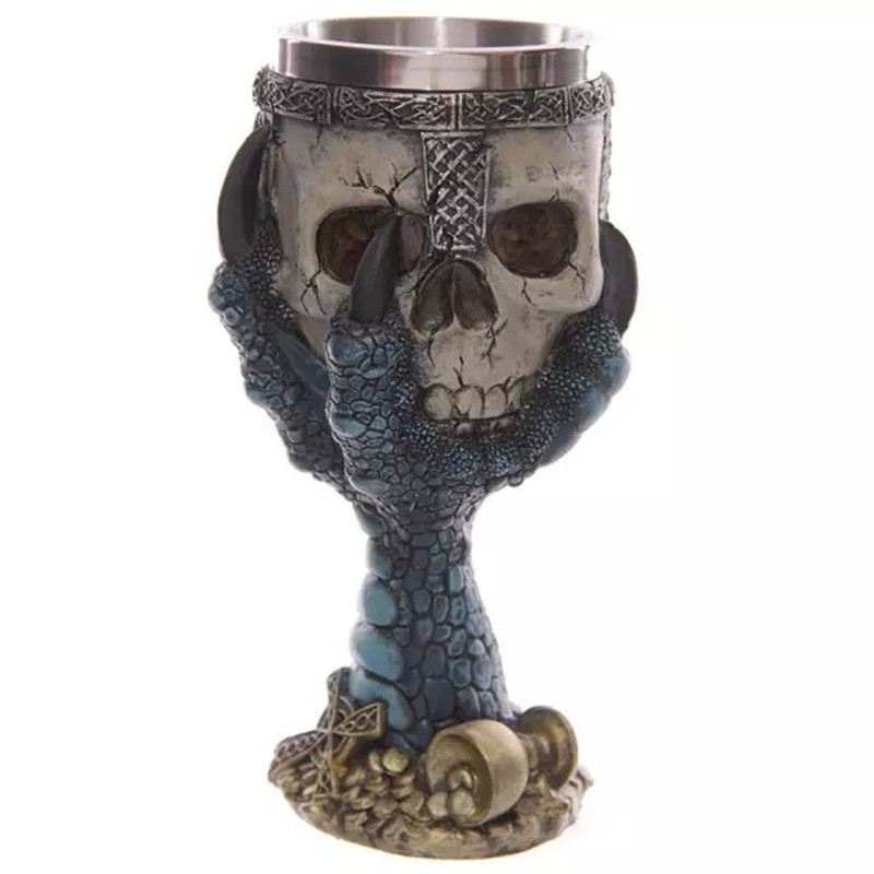 Explosion models Creative skull goblet The stainless steel tank skull cup 11.5*15*10.5cm mug Red, blue, green stainless cup(China (Mainland))