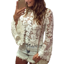 Buy Women Lace Flare Sleeve Blouse Summer Spring O-neck Laces Long Sleeve Blouse Shirts Hollow Solid Color Tops for $7.73 in AliExpress store