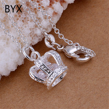 Cubic zirconia noble crown pendant for necklace women girl fashion jewelry silver plated birthday valentine gifts YXNE0829