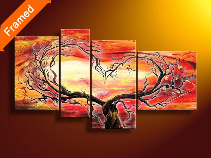Framed oil painting four panels (Tree heart) 100% hand painted oil painting on canvas picture for wall(China (Mainland))