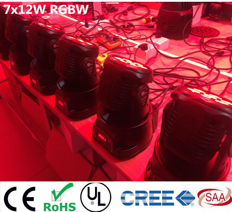 led wash moving head light 7x12w rgbw 4in1 leds advanced DMX 14 channels dj band lights(China (Mainland))