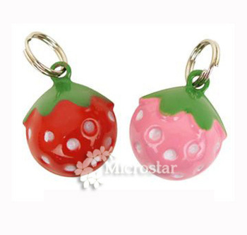 Bell 5 pieces Pet Cat Bell Enamel Cartoon Strawberry Craft Copper Fit Cat Collar Charms Red Pink Party Decoration 21*17.5*16.5mm