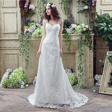 Buy Sweetheart Sheath Lace wedding dresses Sheer Straps vestido de noiva cheap Wedding Gowns Back Lace beach wedding dress for $99.45 in AliExpress store