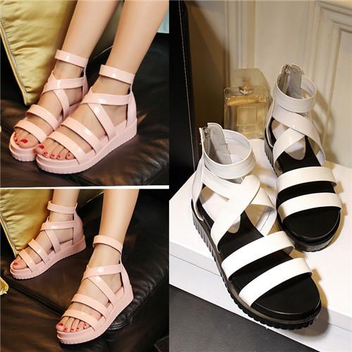 Latest Designer Women's Sandals Open Toe Gladiator Genuine Real Leather Platform Wedges Female Zip Cutout Pink Shoes