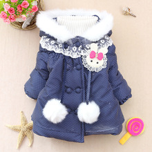 Retail !2014 new brand girls Princess thick winter coats kids padded streetwear hooded Outerwear warm girls Thick dot Jacket z20