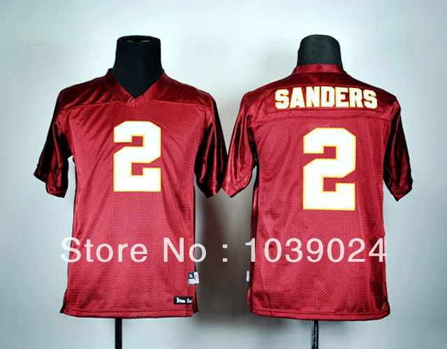 Kids Wholesale Sports Florida State Seminoles Low Price#2 Deion Sanders Youth Jersey Great Quality Boys Red Low Price Stitched C(China (Mainland))