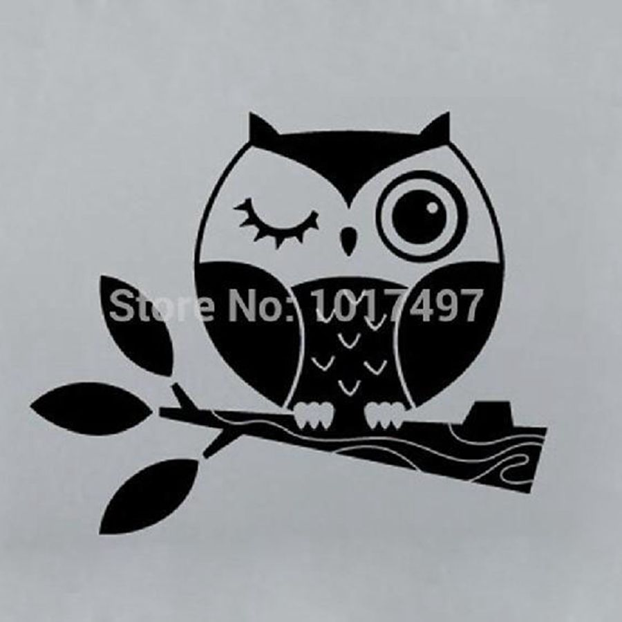 Small size Cute Owl Stickers , Vinyl Owl on Branch Decals for Laptop car bathroom home decoration ,free shipping P2050(China (Mainland))