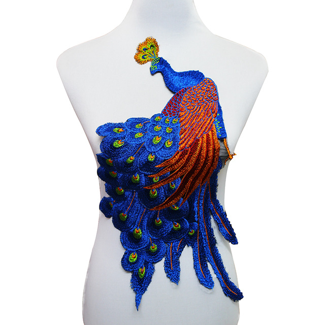 1piece Peacock Large Patch Lace Embroidered Sew on Sticker Patches Applique Motif Venice Sewing Accessories for Craft T1617(China (Mainland))