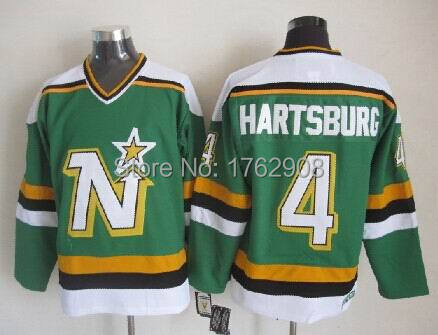 Dallas Stars Men's #4 Craig Hartsburg Throwback Jersey wholesale vintage green/white jersey,A+++ Quality,All Stitched,mix order(China (Mainland))