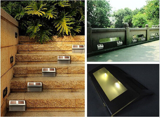 Newest 3 LED Solar Stair Light Outdoor Pathway Deck Path Step Landscape Garde