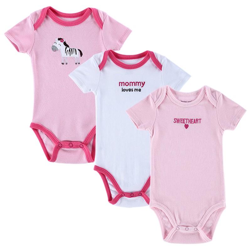 2016 Newly 3 Pcslot Baby Bodysuit Girls and Boys Summer Baby Girls Clothing Short Sleeves Sleepwear Newborn Unisex Baby Clothes (14)